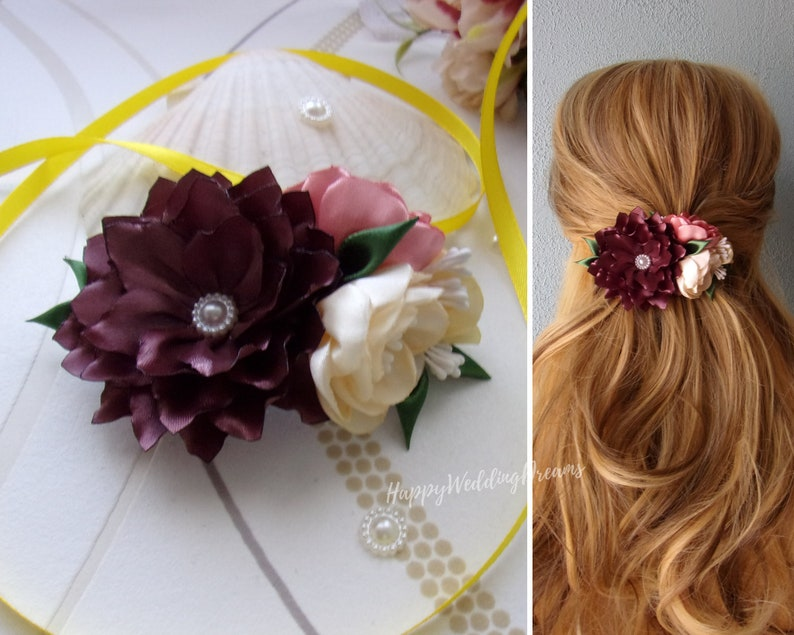 Floral hair clip French barrette with fall colors satin flowers Country wedding hair barrette BF 0050