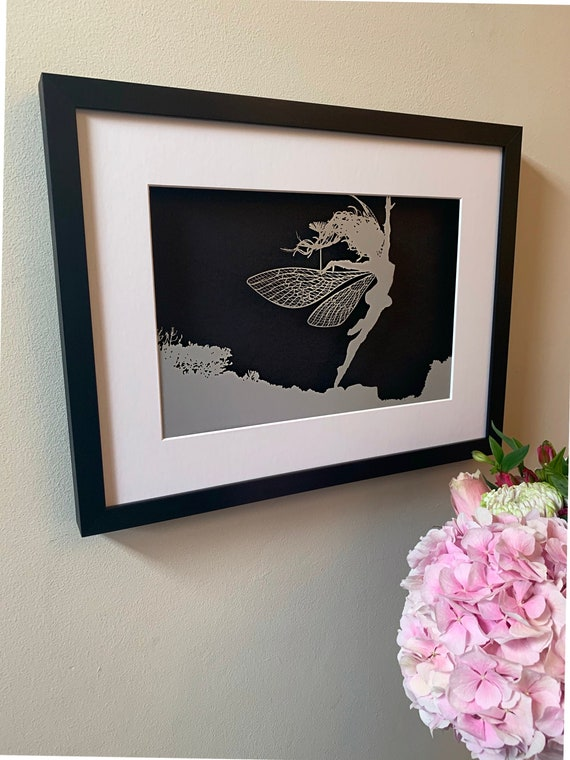 ANEMOI - FANTASY WIRE Papercut Framed Picture (Silver with Black backing)