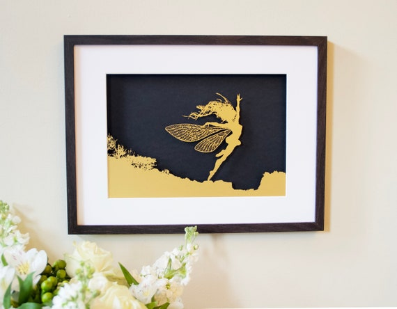 ANEMOI - FANTASY WIRE Papercut Framed Picture (Gold with Black backing)