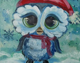 Original Oil Painting Christmas Gift Owl Wall Decor Miniature For Her Birthday