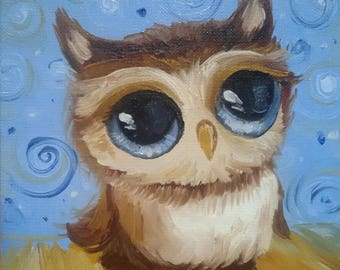 Christmas Gift Owl Painting Wall Decor Original Oil Miniature For Her Birthday