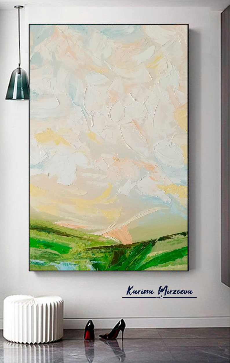 Large Original Painting On Canvas Colorful Paintings White Painting Green Painting Unique Painting Contemporary Art Living Room Wall Art
