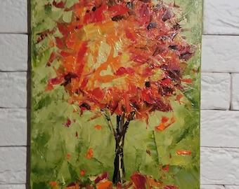 Tree Wall Art,  Abstract Art Painting, Original Impasto painting, Abstract Landscape painting, small painting, Palette knife art