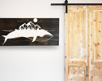 Whale Mountains Panting Rustic Decor
