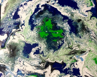 Acrylic fluid-Distant Earth greens and blues