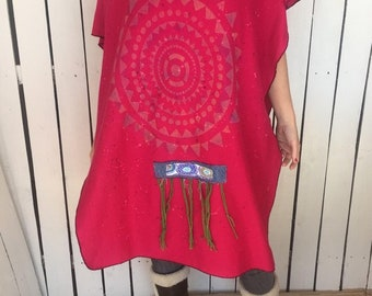 f0e29736a7 Hot pink TRIBAL sun paint splatter poncho-festival-hippie-hand painted art  to wear clothing-one size-boho poncho-A1