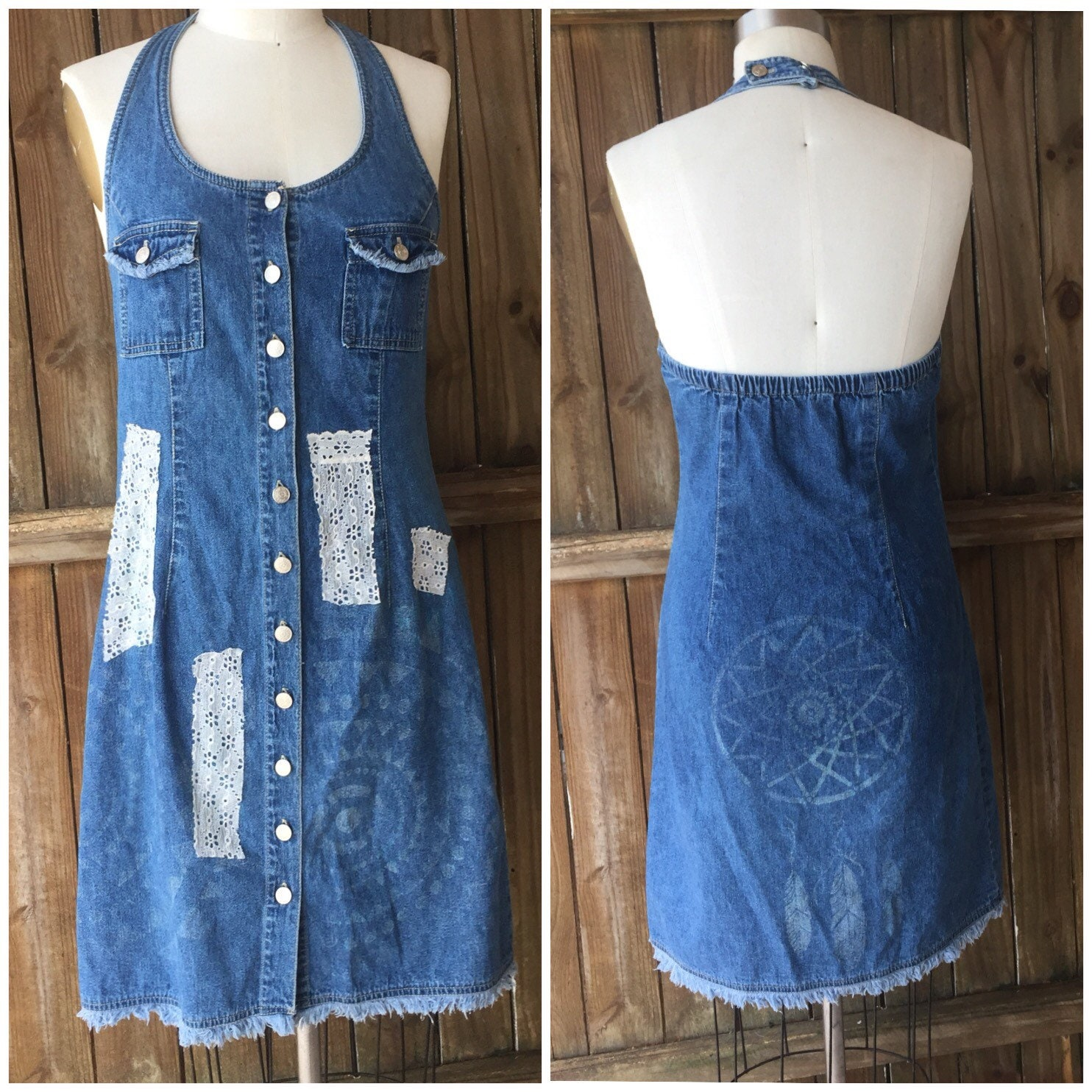 7db7352d30 Tribal sun denim halter dress-dream catcher print-scrappy