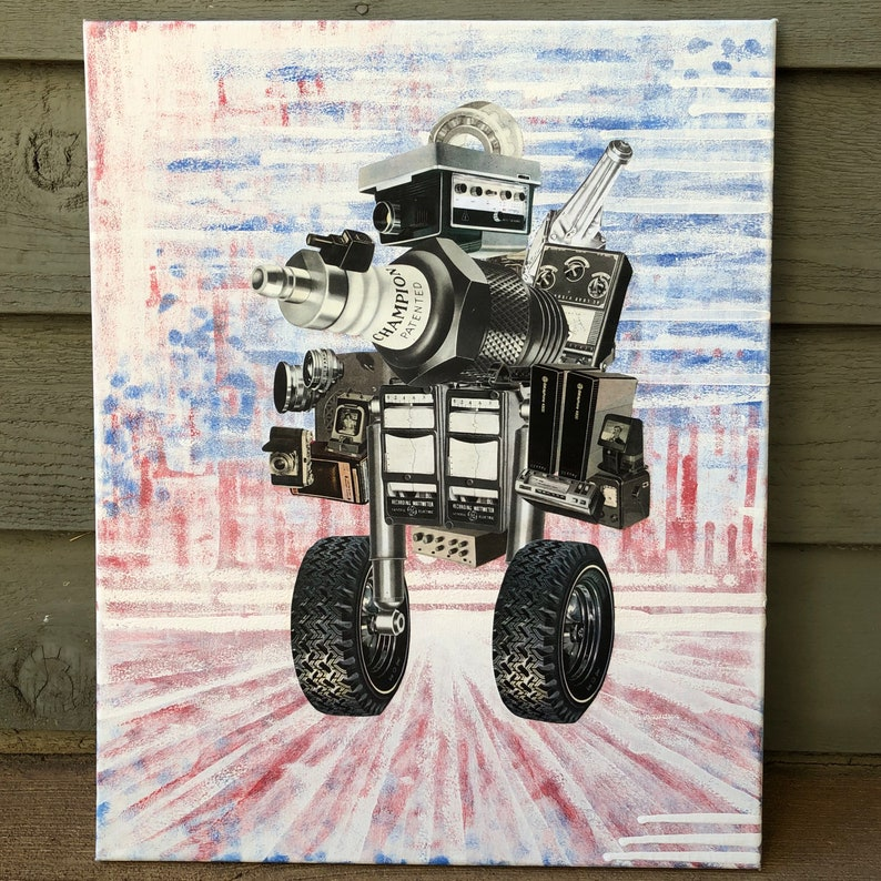 Auto-Roller Original Mixed Media Collage Sci Fi Robot Painting ...