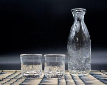 ICE sake set - handblown glass