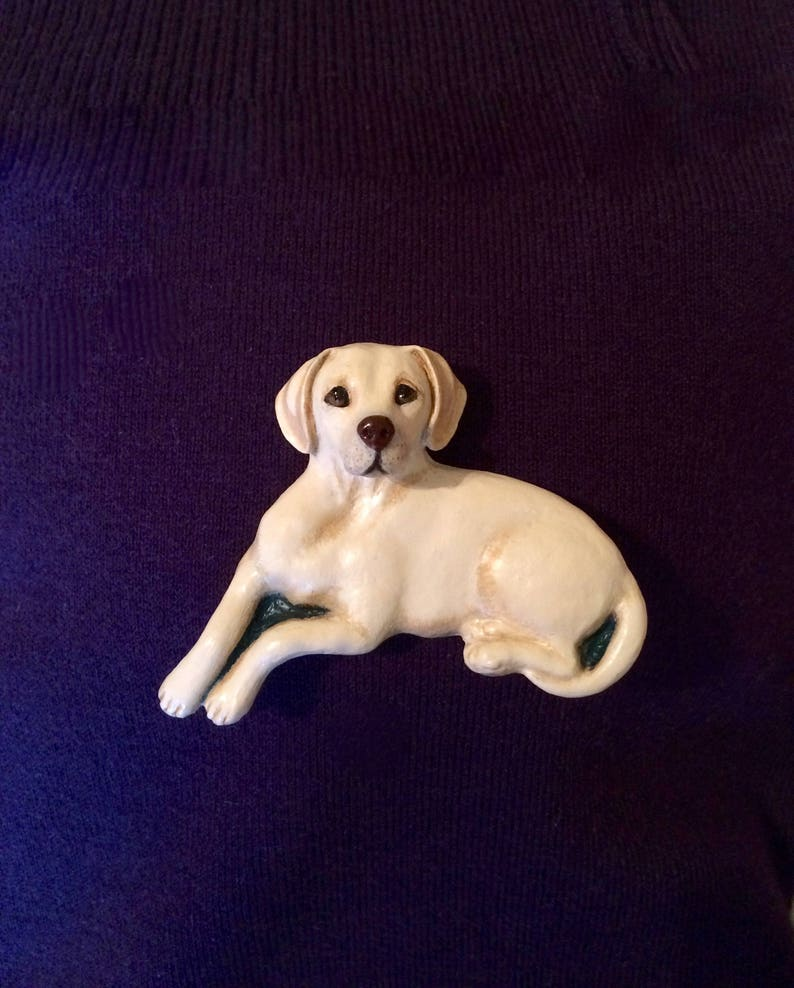 Labrador BroochPin ~ Hand painted ~ 3 Dimensional Design ~ available in white brown and black