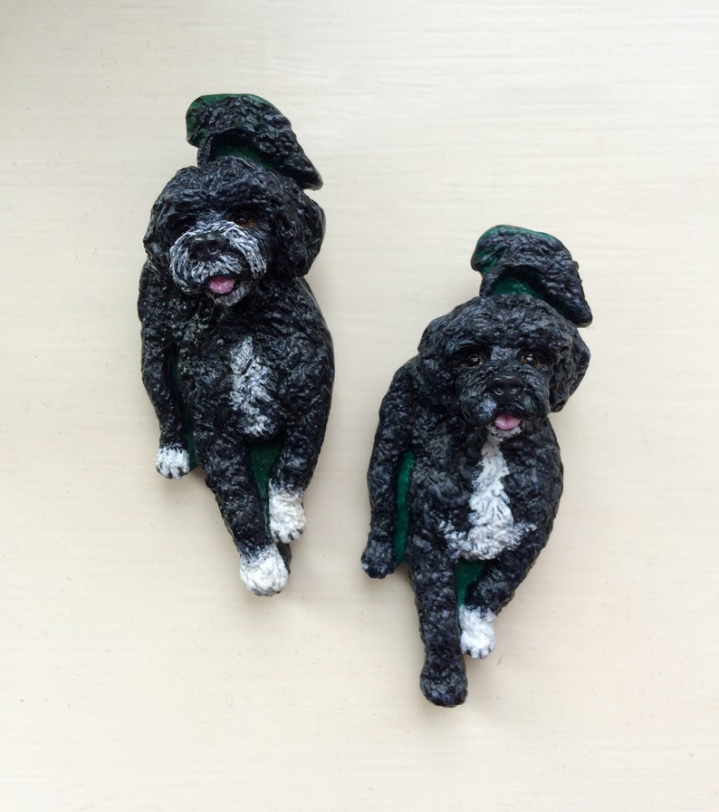 Portuguese Water Dog BroochPin ~ Hand painted ~ 3 Dimensional Design