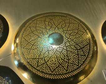 Moroccan chiseled round wall light lamp