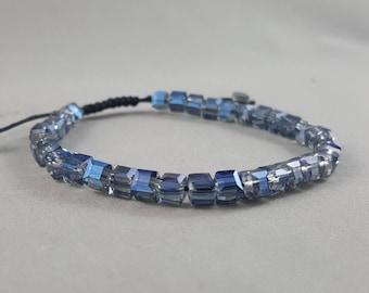 Rainbow Blue Quartz Beaded Bracelet Adjustable Bracelet Womens Bracelet for Men Christmas Gift Idea Stocking Stuffer Friendship Bracelet