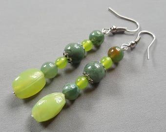 Dangle Earrings Drop Earrings Beaded Earrings Boho Jewelry Handmade Earrings Green Jewelry Crystal Earrings Gemstone Earrings For Her Mom