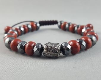 Hematite & Red Jasper Beaded Bracelet Boho Bracelet Adjustable Bracelet Valentine Gift Idea Stocking Stuffer Women's Gift for Him Friendship