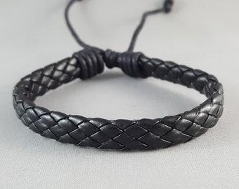 Black Braided Leather Bracelet Braided Bracelet Mens Bracelet Braided Leather Cuff Bracelet Christmas GIft for Him Stocking Stuffer for Him