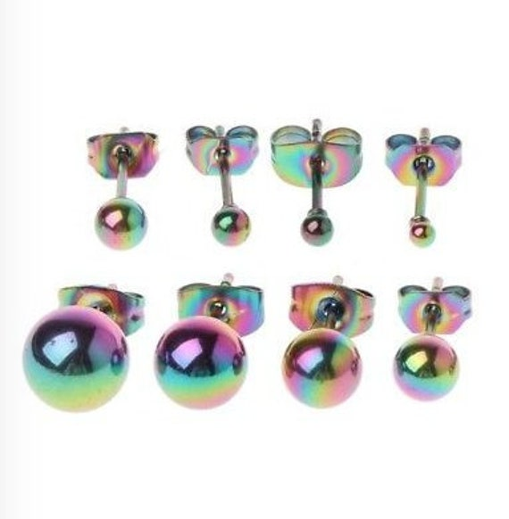 3 PCS Stainless Steel Cartilage Earrings w// Abalone Shell Purple Rainbow /& Blue