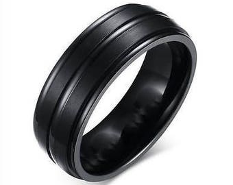 Black Ring Stainless Steel Ring Men's Wedding Band Mens Ring Engagement Ring Mens Jewelry Promise Ring Anniversary Ring for Him Band Ring
