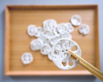 Lotus root chopsticks rests, Porcelain, Handmade, Asia, White, For food addict