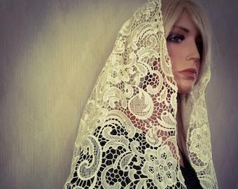 Ivory Alençon Lace  Mantilla | Free Quilted Carrying Bag | Chapel Veil | Catholic Veil |  Heirloom Mantilla | Bridal Veil The Veiled Woman