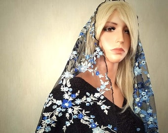 Blue and Black Floral Embroidered Mantilla | Free Quilted Carry Bag | Chapel Veil | Lace Veil | Catholic Veil | The Veiled Woman