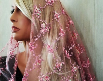 Pink Pearl Adorned Embroidered Mantilla | Free Quilted Carry Bag | Heirloom Mantilla | Princess Veil |  Catholic Veil | The Veiled Woman