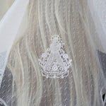 White Lace Mantilla Chapel Veil | Madonna and Child Embroidered Battenburg Lace | Catholic Veil | Veil for Church | Quinceanera