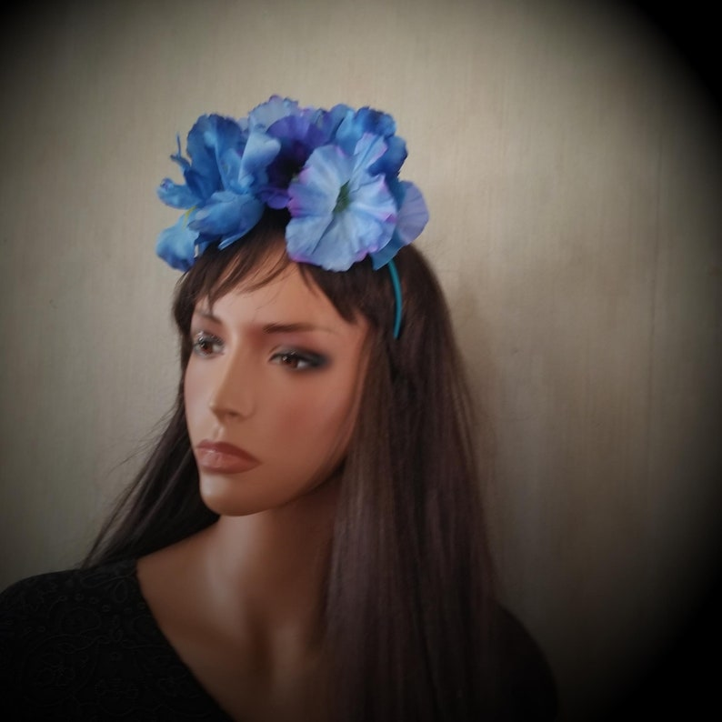 Blue Spring Blossoms Floral Crown Headband Fascinator Iris image 0