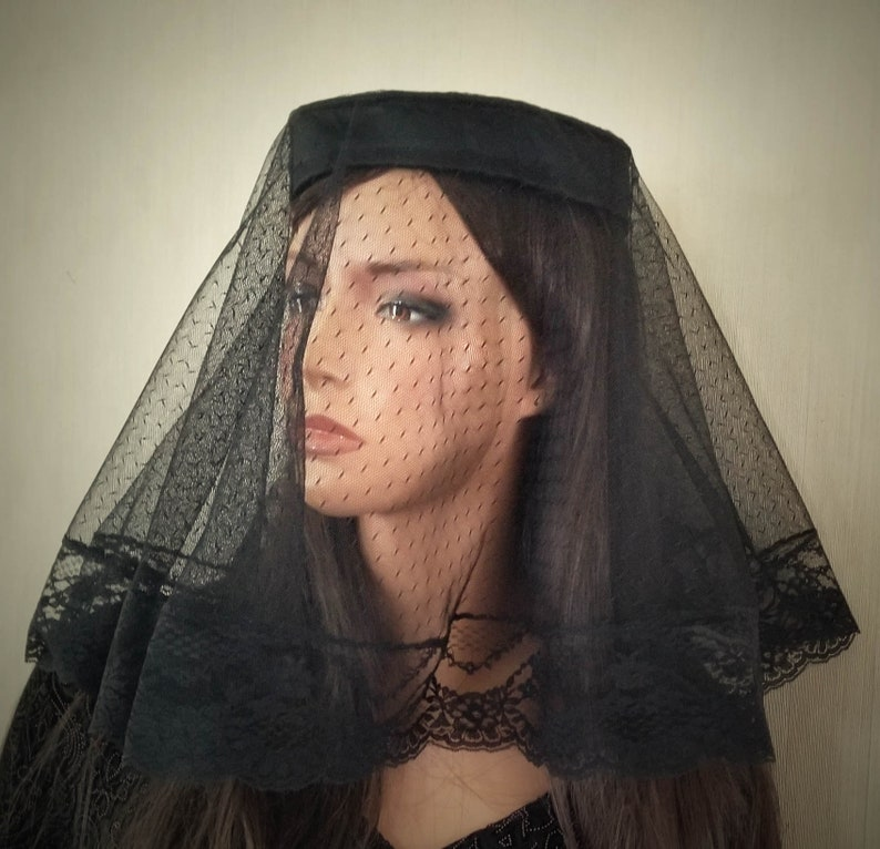 b702fcacc29 Black Mourning Veiled Pillbox Hat Mourning Mantilla