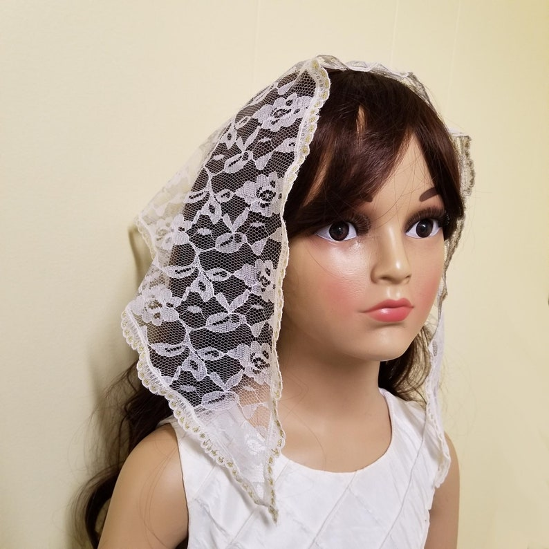 Girl's White and Gold Lace Mantilla Triangle Chapel Veil image 0