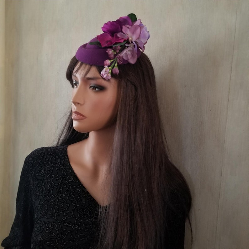 Purple Flowered Pillbox Hat Pansies Wisteria Blossoms Easter image 0