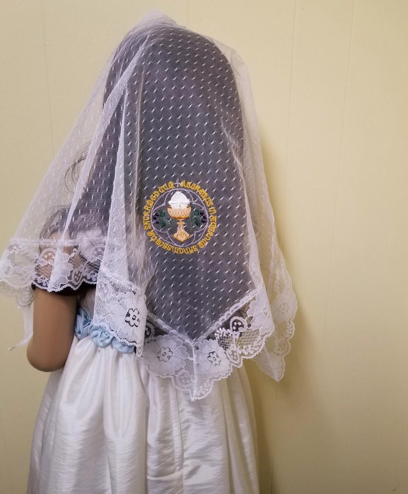 White Lace First Communion Veil with Latin Inscription Lace image 0