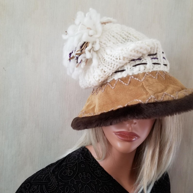 Summer Tompkins White and Tan Winter Hat Embroidered Wool and image 0