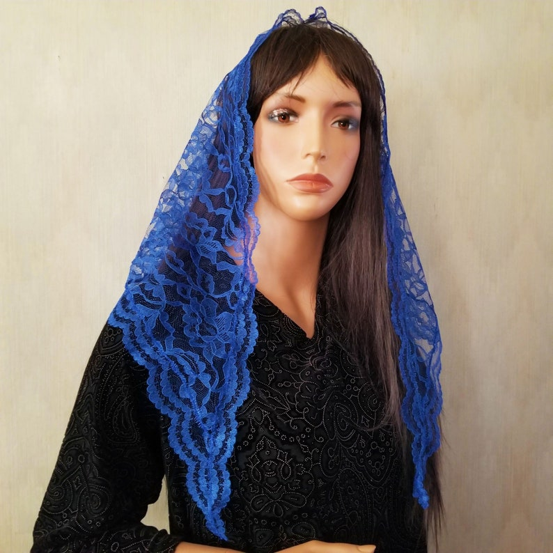 Royal Blue Lace Mantilla Catholic Chapel Veil for Mass Brides image 0