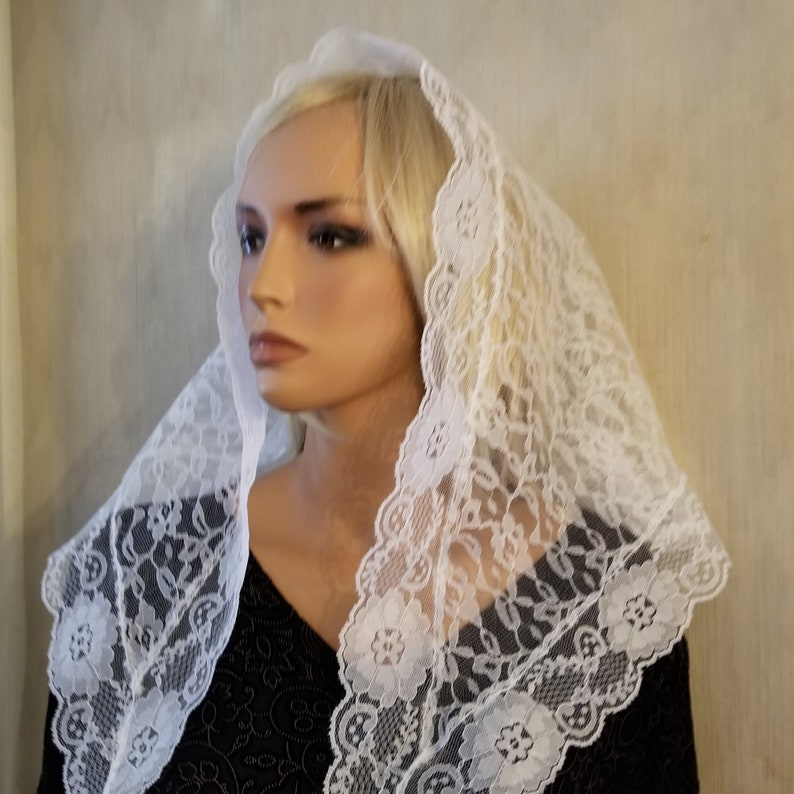 White Lace Mantilla  Traditional Triangle Chapel Veil for image 0