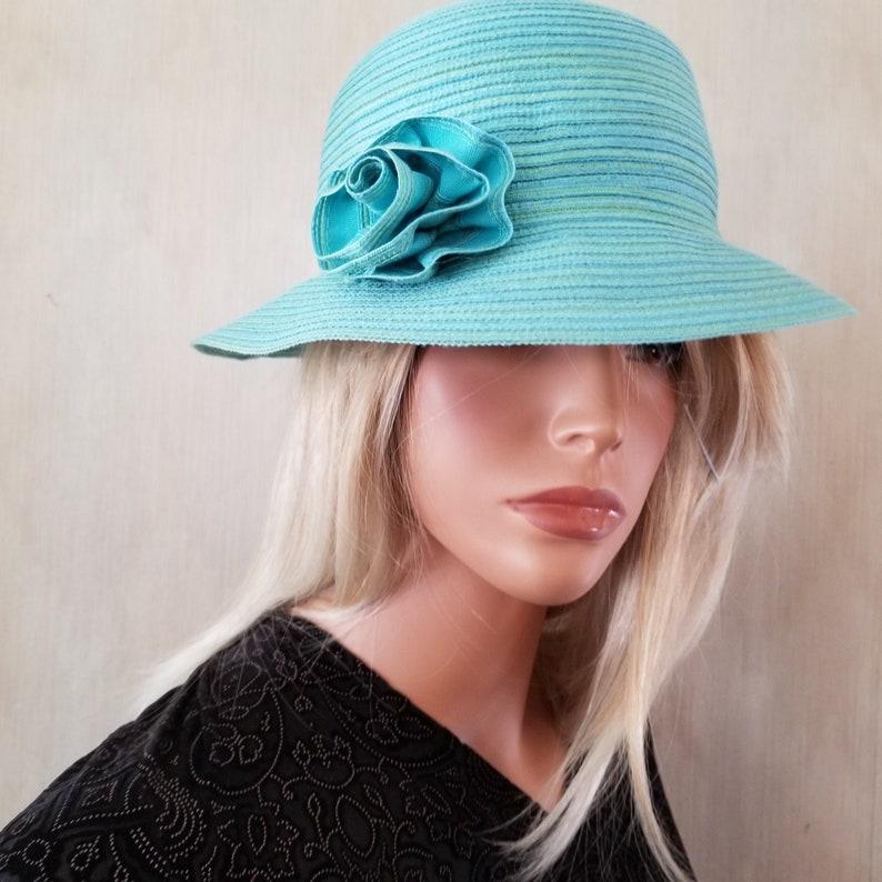 August Blue Green Cloche Church Hat Wedding Hat image 0