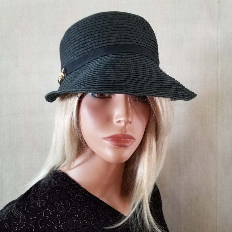 Black Straw Visor Hat Adjustable Band Church Hat Everyday Hat image 0