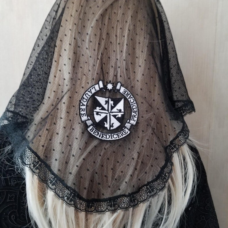 Embroidered Dominican Seal on Black Chapel Veil Mantilla for image 0