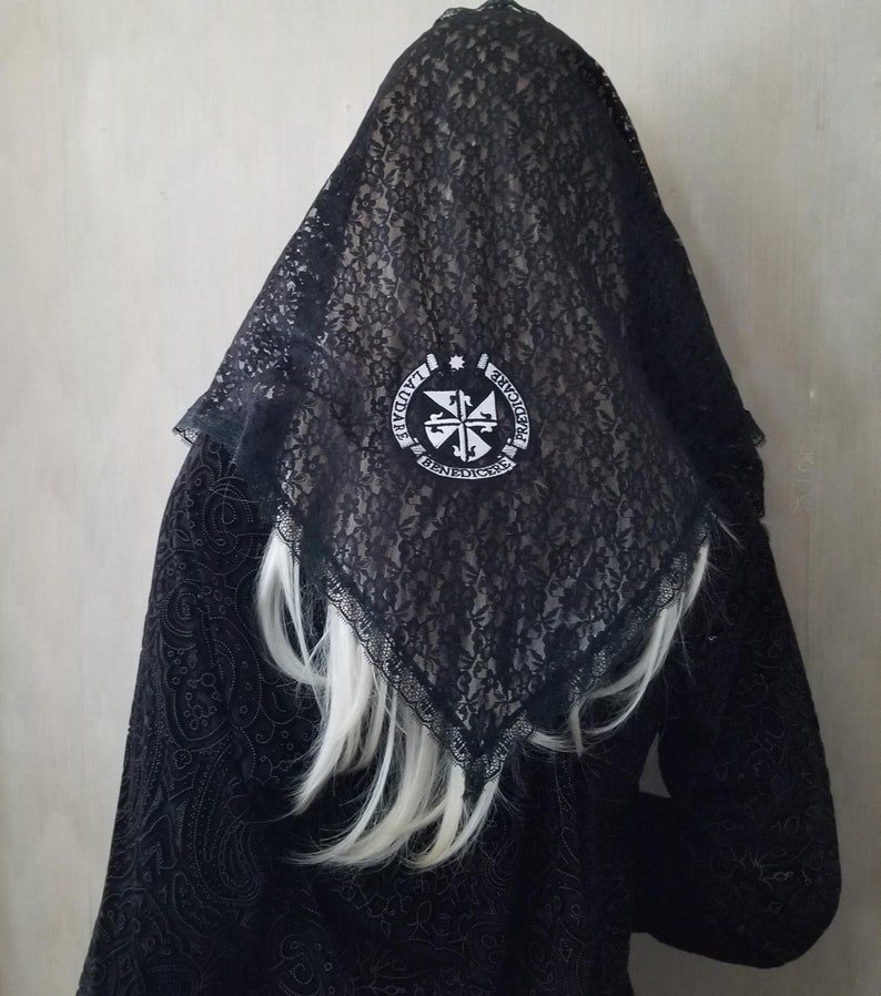 Dominican Seal Chapel Veil Mantilla Embroidered on Black Lace image 0