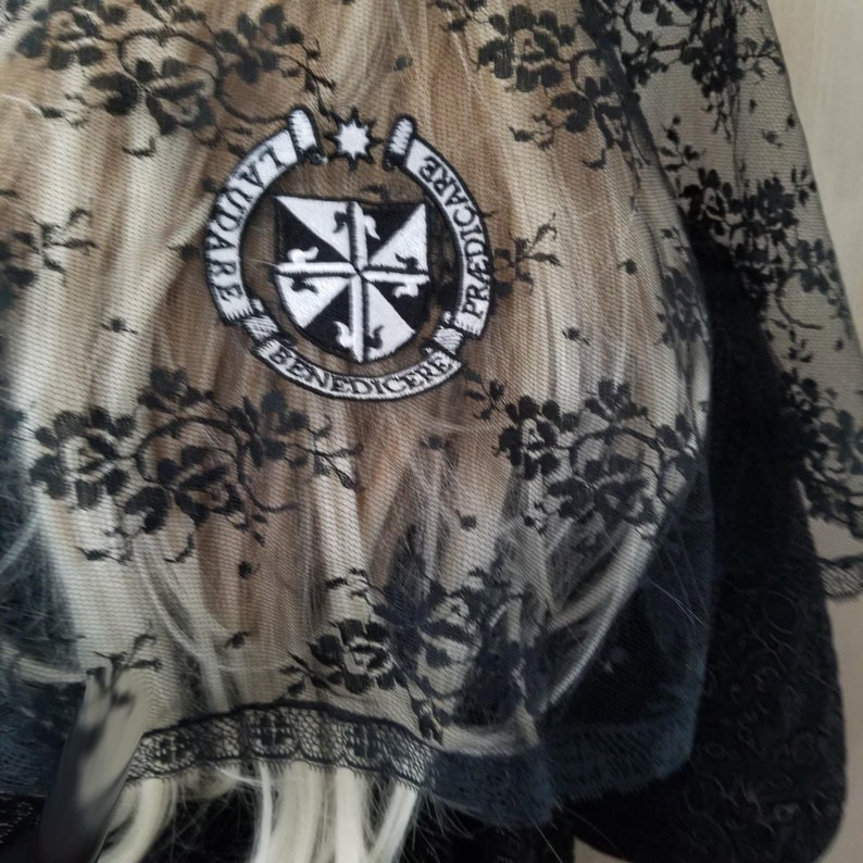 Dominican Seal Chapel Veil Mantilla Embroidered on Black image 0