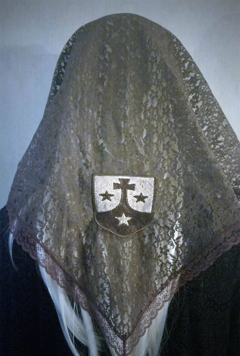 Carmelite Seal Chapel Veil | Brown Scapular Veil | Mantilla | Catholic Veil  | Discalced Carmelite | Chapel Veil | The Veiled Woman