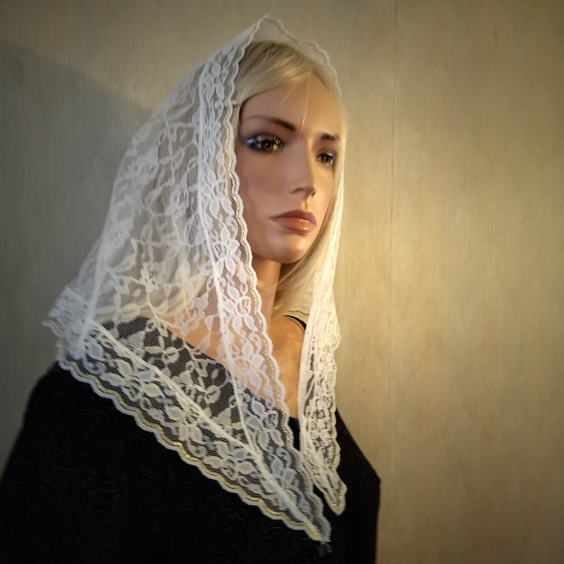White Lace Mantilla with Gold Trim  Chapel Veil for image 0