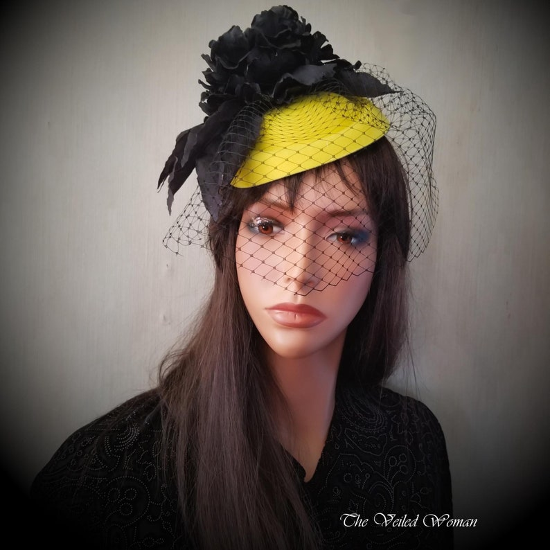 Black Yellow Veiled Pillbox Hat Cocktail Hat Easter Hat image 0