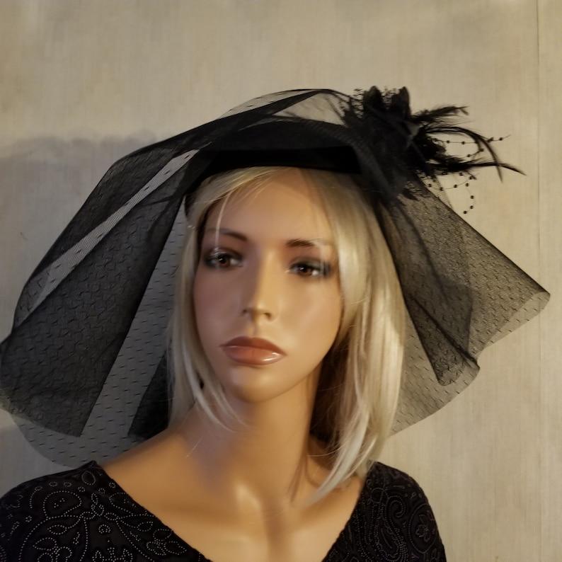 f645803fb52 Black Mourning Veiled Pillbox Hat Mourning Mantilla Black