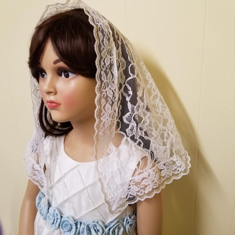 Girl's White and Gold Lace Mantilla D Shape Chapel Veil image 0