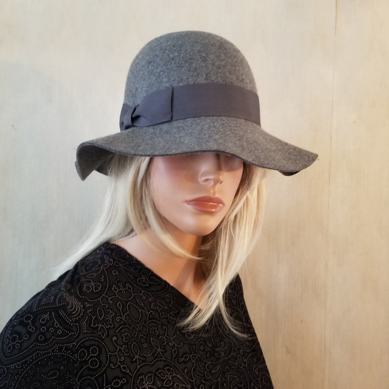 Gray Wide Brim Wool Hat Church Hat Wedding Hat Special Event image 0