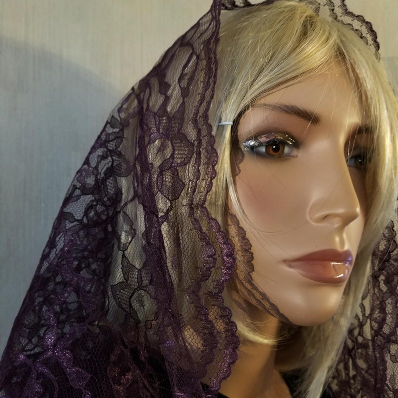 Dark Purple Infinity Veil Mantilla with Carrying Bag for Lent image 0