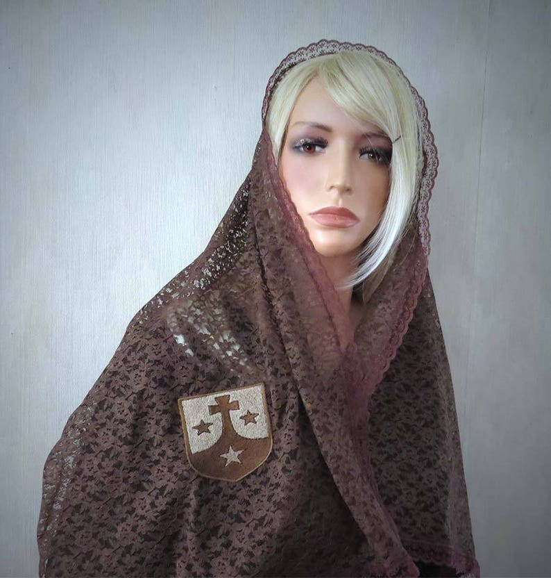 Carmelite Seal Chapel Veil | Brown Scapular Veil | Mantilla | Catholic Veil  | Discalced Carmelite | Free Shipping | The Veiled Woman