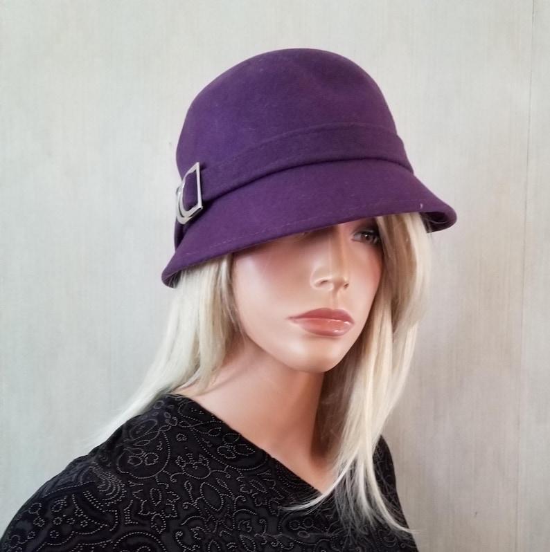 Helen Kaminski Australia Plum Purple Cloche Hat Silver Buckle image 0