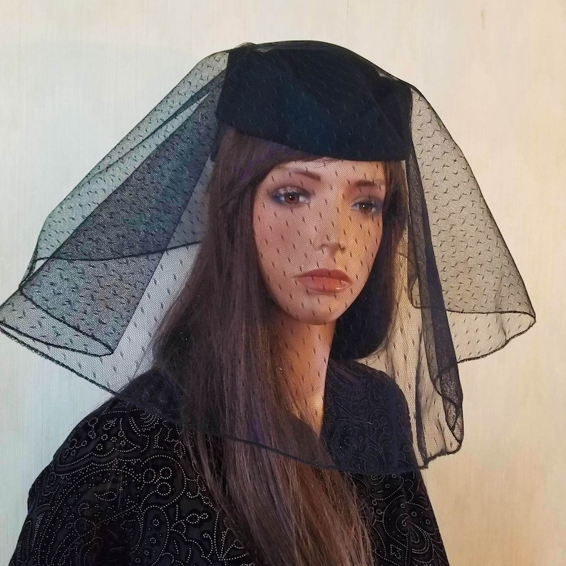 Black Veiled Funeral Hat Stewardess Style Hat Funeral for image 0